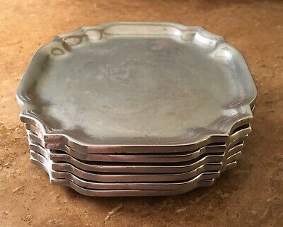 "Lot 6 Vtg 1973 Wilton Pewter RWP Queen Anne Square 5"" Snack Appetizer Plates"