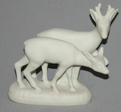 Antique European Hand Made Porcelain Bisque Deer Couple Roe Figurine