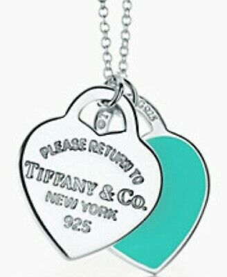 Tiffany & Co. Mini Double Heart Tags Sterling Silver & Enamel Pendant Necklace