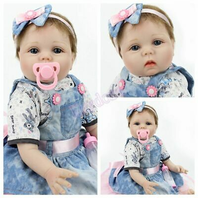 """22"""" Reborn Doll Baby Girl Real Touch Silicone Vinyl Playmates Xmas Gifts Toy"""
