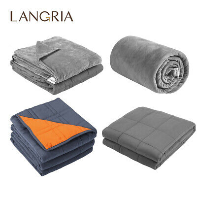 LANGRIA Weighted Blanket Gravity Blankets Sensory Sleep Reduce Anxiety Bed Sofa