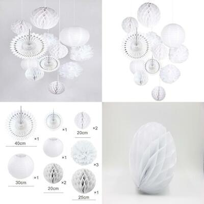 Easy Joy Pure White Wedding Decoration Kit,Tissue Paper Honeycomb Balls white