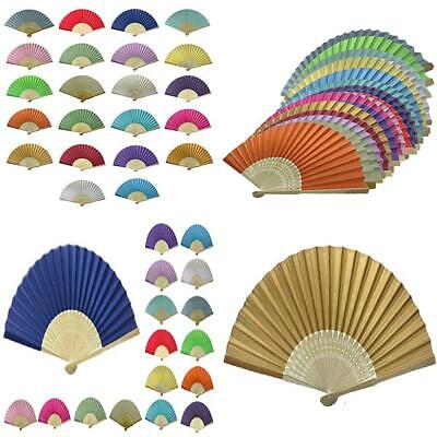 Rangebow Wholesale Pack of 10 Mix Colours Silk Fabric Hand Fans Ideal...
