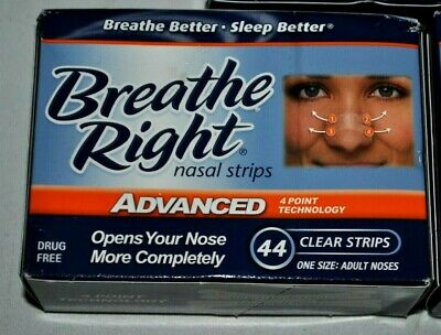 44 CLEAR BREATHE RIGHT ADVANCED NASAL STRIPS - new / sealed