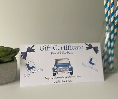 Personalised Driving Lessons Gift Certificate Voucher Birthday Card 17th 18th