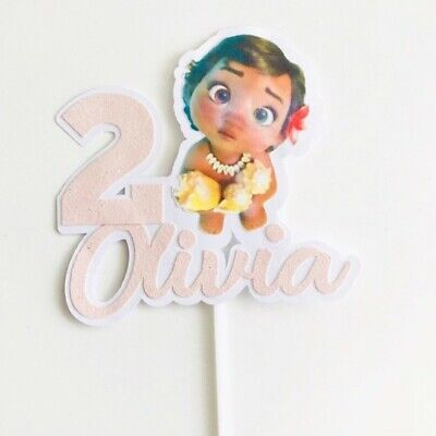 Baby Moana Cake Topper Glitter Card Personalised Name Birthday Custom Party