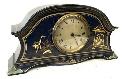Stunning Chinoiserie Blue Lacquered Mantel Bracket Clock Japanned Paint