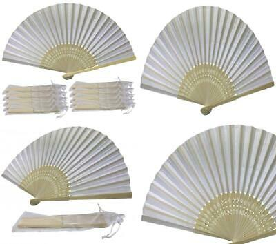 White Hand Fans, Pack of 10 Wholesale Silk Fabric Fan with Bamboo