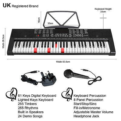 61 Keys Electronic Lighted Keyboard Digital Music Instrument Piano & Microphone