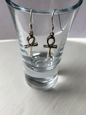 Sterling Silver 925 Egyptian Ankh Earrings Brand New Gift Boxed