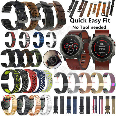 For Garmin Fenix 6 Pro 6S 6X Pro Solar Silicone & Leather Quick Wrist Band Strap