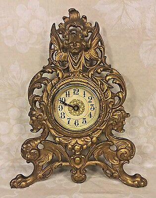 Antique Gilt Metal Shelf Clock Gargoyle Base w/ Winged Cherub Crest Time Only Ru