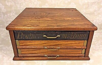 3 Drawer Spool Cabinet Oak Case Brainerd & Armstrong Brass Hardware