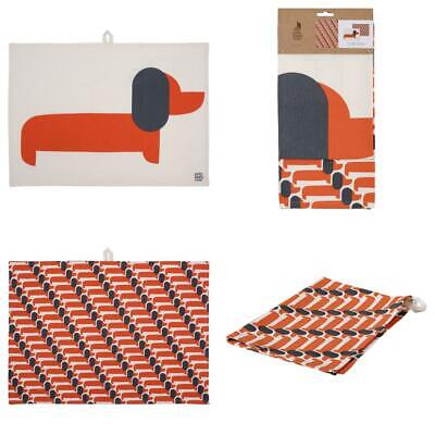 Orla Kiely | Set of 2 Teatowels in Persimmon | Dachshund Design |