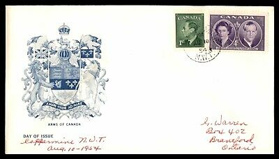 MayfairStamps CANADA FDC 1954 COPPERMINE NWT ARMS OF CANADA FDC FIRST DAY COVER