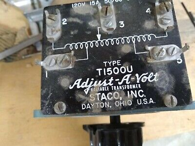 Staco T1500U Variable transformer, rated 10A, includes a knob and faceplare