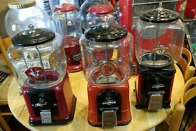 3 Victor gum machines set 1940's, 1946's,  1950's All Fully restored Red Nice