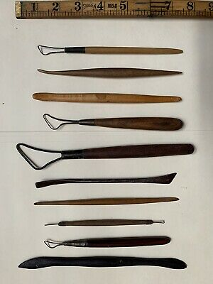 Lot of 10 Vintage Clay Sculpting Tools, Loop Wooden Steel Sculpt Tool (set B)
