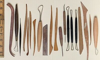 Lot of 20 Vintage Clay Sculpting Tools Wooden Loop Sculpt Tool (set E)
