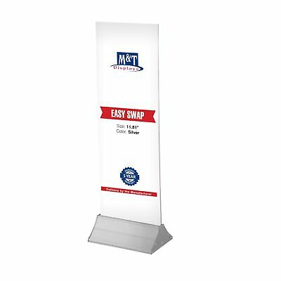 "Acrylic Easy Swap Advertise Display, Tabletop 11-4/5"" W, Silver Aluminium Base"