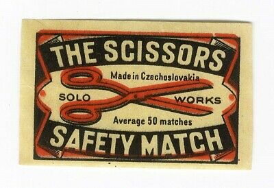SCISSORS Czech MATCHBOX Label Solo Safety Match Works c 1920's