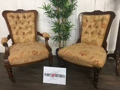 Antique Victorian Set of Ladies and Gents Parlour Chairs