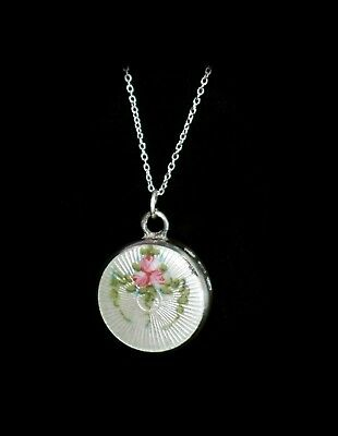 Stunning Antique STERLING Hand Painted *ENAMEL GUILLOCHE* VINAIGRETTE Necklace