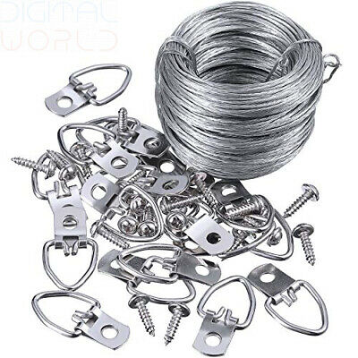 Picture Hanging Kit 20 Pieces D-Ring Hangers with Screws, 100 Feet