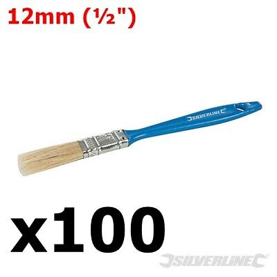 "100 x 12mm DISPOSABLE PAINT BRUSHES ½"" DECOR DECORATING WALLPAPER PAINTING BRUSH"
