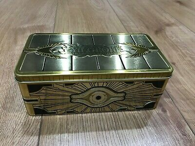 GOLD SARCOPHAGUS MEGA TIN - EMPTY STORAGE TIN 2019 YuGiOh Holds 400+ Cards NEW!!