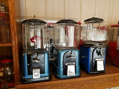 3 Victor gum machines set 1940's, 1946's,  1950's all Fully restored BLUE Nice