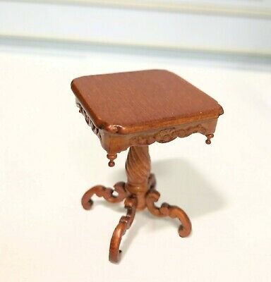 Bespaq Dollhouse Miniature  Wooden Walnut  Carved Side Table