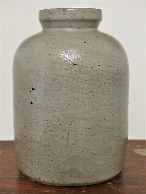 Antique 19th C STONEWARE Salt Glaze Small Mouth STORAGE Oyster Canning CROCK