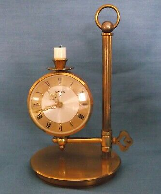 RARE SWIZA CANDLE HOLDER ALARM CLOCK 8-DAY FULLY WORKING VINTAGE c1940s