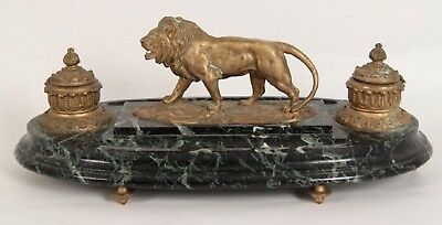 Antique French Gilt Bronze Lion Figural Ormolu Verde Marble Desk Top Inkwell
