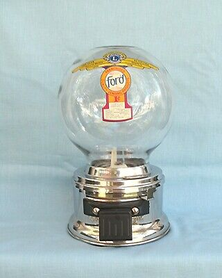 1c Ford Glass Globe large ball gum Gumball vending Machine with Lions Club Decal