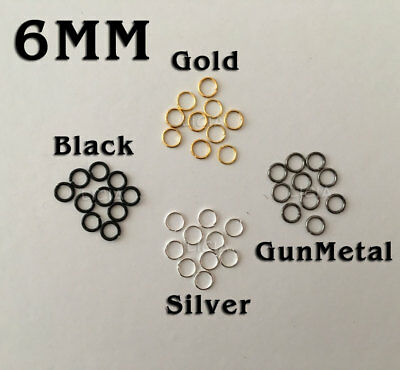 Gold Silver Black Plated Open Jump Rings Round Split Ring Circle Necklace 6mm SM
