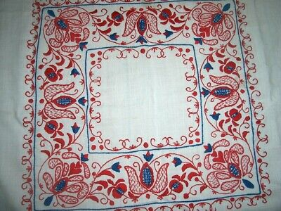 """Vintage Turkey Red & Blue Swedish Embroidered Table Top Tablecloth 27"""" x 27"""""""