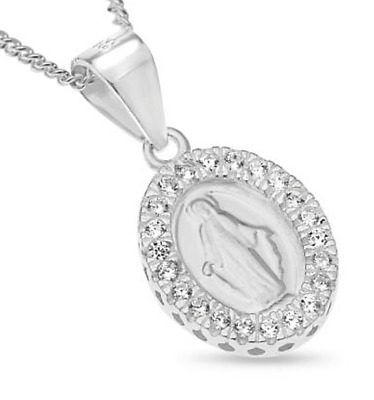 """Dainty Crystal Miraculous Medal Virgin Mother Mary Pendent Necklace 18"""" chain"""