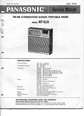 Vintage Panasonic SERVICE MANUAL- Model RF-618 9-Transistor FM-AM Portable Radio