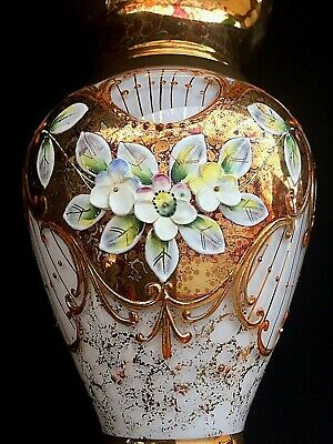 Moser Czech Bohemian Opalescent Milk Glass Enamelled & Gold Overlay Antique Vase