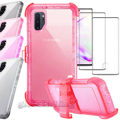 For Samsung Galaxy Note 10 Plus Case w Kickstand Clear Cover Holster Belt Clip