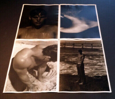 #S3 LOT OF 4 XL VINTAGE 11X14 PHOTOS Sexy Male Man Swimmer Model GAY INTEREST