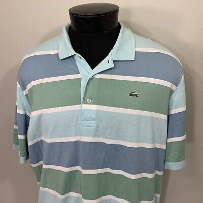 Lacoste Polo Shirt Striped Croc S/S Casual Rugby Men's Size 7 Tennis Golf