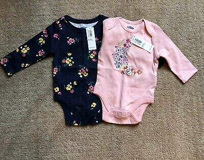 NWT Two Old Navy Baby Girl 0-3 Month Bodysuit Floral Pink/Navy Blue
