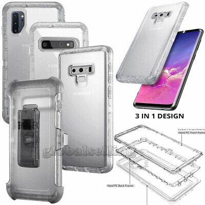 For Samsung Galaxy Note 10 Plus 9 S10+ S10E Clear Case Hybrid Clip Holster Cover