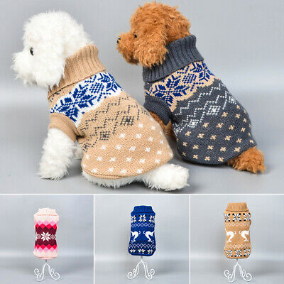 Puppy Pet Dog Winter Warm Knit Jumper Sweater Clothes Apparel Vest Coat XS-L