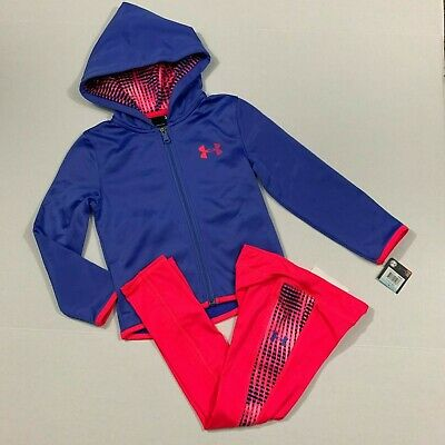 Under Armour Size 5 NWT Girls Track Suit Zip Jacket Leggings Outfit Pink Mirror