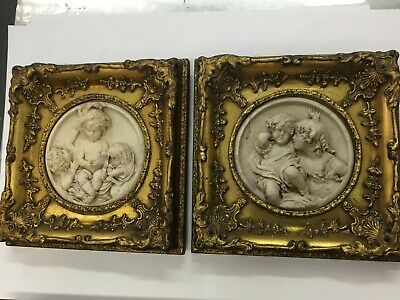 Antique Marble Plaques Pair Gilt Frame Signed French ? English ?