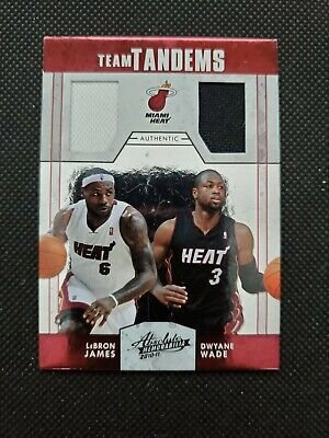 LeBRON JAMES/DWYANE WADE 2010-11 ABSOLUTE TEAM TANDEMS GAME-USED JERSEY INSERT!